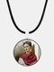 Cartoon Printed Men Women Necklace Adjustable Woman Wearing Flowers Glass Pendant Leather Necklace - #12