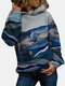 Landscape Printed Long Sleeve Casual Hoodie For Women - Blue