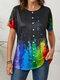 Inkjet Ethnic Gradient Print Button Front Plus Size T-shirt - Multicolor