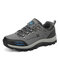 Men Outdoor Hard Wearing Non Slip Lace-up Round Toe Hiking Shoes - Gray