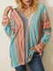 Casual Striped Print Knitted V-neck Long Sleeve Plus Size Blouse - Pink