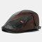 COLLROWN hommes Faux cuir Patchwork couleur décontracté Vintage réglable avant chapeau béret chapeau - Noir