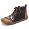 LOSTISY Women Soft Tribal Embroidered Splicing Leather Hand Stitching Ankle Boots - Black