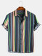 Mens Ethnic Colorful Stripe Printed Casual Short Sleeve Shirt - Blue
