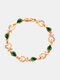 Vintage Heart Women Bracelet Hollow Inlaid Diamonds Bracelet Valentine's Day Gift - Green