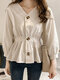 Solid Color Long Sleeve V-neck Button Blouse For Women - Apricot