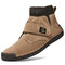 Men Synthetic Suede Splicing Hand Stitching Non Slip Casual Ankle Boots - Khaki