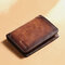 Men Genuine Leather RFID Anti-theft Retro Large Capacity Foldable Card Holder Wallet - Brown
