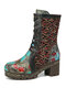 SOCOFY Retro Embossing Floral Embroidery Cloth Leather Splicing Chunky Heel Boots - Black