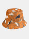 Women & Men Double-sided Cats And Letter Painting Soft All-match Travel Bucket Hat - Yellow