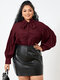 Solid Color Puff Sleeve Knotted Long Sleeve Casual Blouse for Women - Wine Red