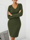Solid Color V-neck Long Sleeve Casual Dress For Women - Green