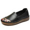 SOCOFY Floral Printed Round Toe Comfy Cowhide Soft Sole Casual Flat Loafers - Black
