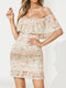 Floral Print Backless Ruffle Mini Sexy Dress For Women - Pink