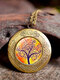 Vintage Glass Printed Women Necklaces Tree Of Life Phase Box Pendant Sweater Chain - #08
