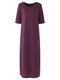 Solid Color O-neck High Slit Plus Size Dress for Women - Light Purple