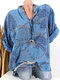 Ethnic Print Long Sleeve Button Casual Blouse - Blue