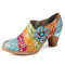 SOCOFY Retro Floral Leather Splicing Zipper Chunky Heel Pumps Dress Shoes - Blue