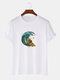 Mens Cartoon Frog Wave Graphic 100% Cotton Short Sleeve T-Shirts - White