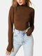 Women Solid Color Long Sleeve High Neck Casual T-Shirt - Brown