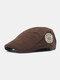 पुरुषों कपास पत्र कढ़ाई आउटडोर सादे रंग आराम जंगली आगे टोपी फ्लैट टोपी - कॉफ़ी