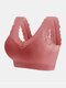 Women 100% Cotton Breathable Seamless Lace Wide Straps Sleep Bra - Red