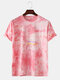 Mens Cool Gradient Color Character O-neck T-shirts - Pink
