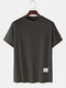 Mens Plain Fruit Embroidered  Breathable O-Neck T-Shirts - Grey