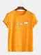 Mens Paper Plane Printing Round Neck Cotton Plain Short Sleeve T-Shirts - Yellow