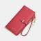 Women PU Leather Multi-card Slots Phone Bag Money Clip Wallet Purse - Red