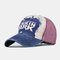 Washed Denim Retro Embroidery Baseball Cap Men And Women Cap Sun Hat Embroidery Hats - Wine Red