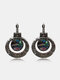 Vintage Carved Spiral Women Earrings Colored Oil Painting Pendant Earrings Jewelry Gift - Silver