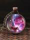 Vintage Glass Gem Women Necklace Universe Starry Sky Pendant Necklace Jewelry - #04