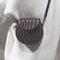 Women Plain Alligator Pattern Round Shoulder Bag Phone Bag - Brown