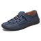 Menico Men Woven Style Breathable Soft Non Slip Microfiber Leather Shoes - Blue