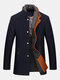 Mens Wool Detachable Scarf Mid Long Trench Coats Business Casual Stylish Coat Slim Fit Jackets - Deep Blue