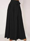 Solid Color Wide-legged Bowknot Belt Pleated Loose Pants - Black