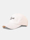 Unisex Cotton Solid Letters Gesture Pattern Embroidered All-match Sunshade Baseball Cap - White