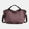 Women Canvas Solid Large Capacity Handbag Crossbody Bag - Coffee