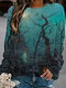 Halloween Print Long Sleeves O-neck Casual Sweatshirts For Women - As Picture
