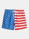 Mens American Flag Print Breathable Lined Casual Drawstring Swim Trunks - Blue