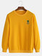 Mens Casual Loose Solid Color Pullover Sweatshirts With Cartoon Pineapple - Yellow