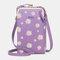 Women 13 Card Slots Phone Bag Daisy Crossbody Bag - Purple