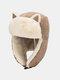 Women Cotton Warm Windproof Ear Protection Cat Ears Shape Outdoor Trapper Hat For Riding Ski - Khaki