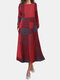 Plaid Print Pockets O-neck Long Sleeve Casual Dress - Wine Red