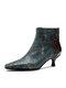 Socofy Vintage Metallic Luster Leather Leopard Patchwork Rivet Design Side-zip Low Cone Heel Boots - Dark Green