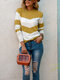 Casual Striped O-neck Long Sleeve Knit Sweater - Yellow