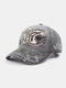Men Washed Cotton Letter Pattern Patch Baseball Cap Outdoor Sunshade Adjustable Hats - Grey