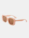 Unisex Full Wide-sided Square Frame UV Protection Fashion Sunglasses - Apricot