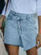 Patch Button Front Denim Jeans Mini Skirt with Pocket - Blue